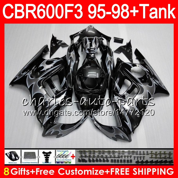 8 Gifts 23 Colors For HONDA CBR600F3 95 96 97 98 CBR600RR FS 2HM9 silver flames CBR600 F3 600F3 CBR 600 F3 1995 1996 1997 1998 black Fairing