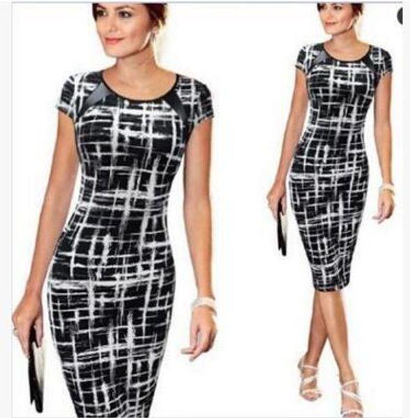 Wholesale-Fashion Free Shipping Designer Women Dress Elegant Floral Print Work Business Casual Party Pencil Sheath Vestidos 004