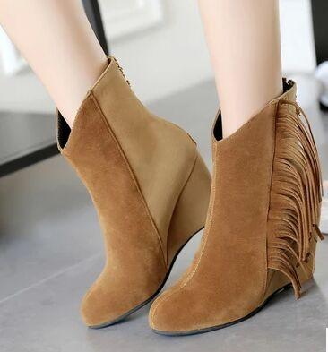 Wholesale New Arrival Hot Sale Specials Influx Warm Noble Snow Suede Martin Grind Tassels Mix Color Noble Naked Wedge Ankle Boots EU34-44