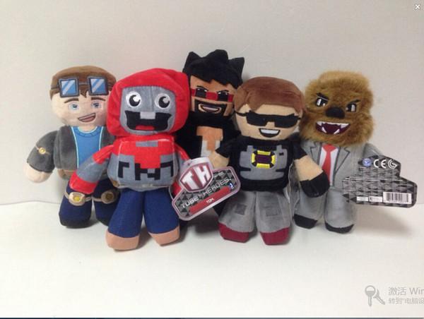 Wholesale-18-23cm Tube Heroes Plush Tube Heroes Dan TDM Captain Sparklez Sky Exploding Jeromeasf Plush Stuffed Toys Doll for Kids
