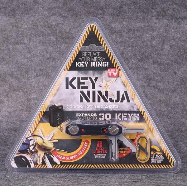 Key Ninja Modern KEY Organize con 30 Llaves Dual LED Lights Bottle Opener Kits Herramienta Outdoor EDC Multi Function Keychain Clip 100Pcs