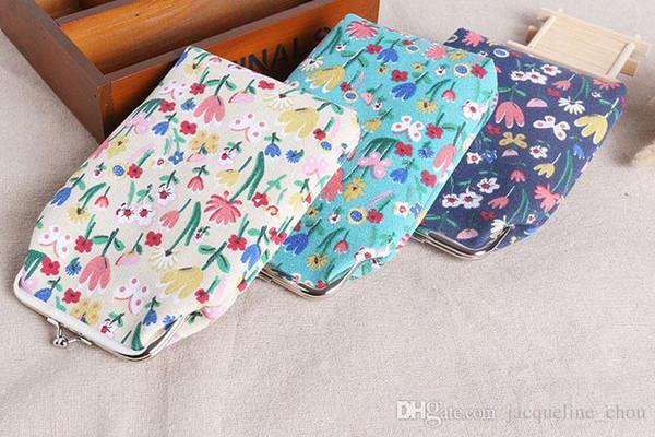 Neue art floral print dame kurze größe brieftasche 19 * 14 cm tuch perle kette handytasche gedruckt leinwand geldbörse lqb-410