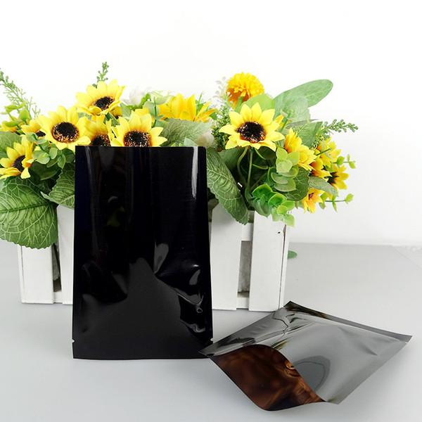 7*10cm Plastic Flat Foil Bag 100Pcs Black Heat Seal Plating Aluminum Foil Bags, Food Storage Packaging Aluminizing Vacuum Pouch
