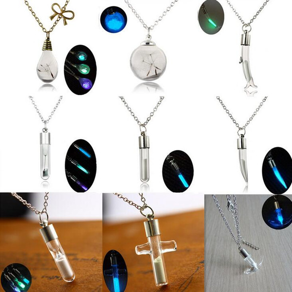 Best gift Crystal Drift Bottle Dolphin Cross Pepper Water Drop Light Bulb Sand Necklace WFN113 (with chain) mix order 20 pieces a lot