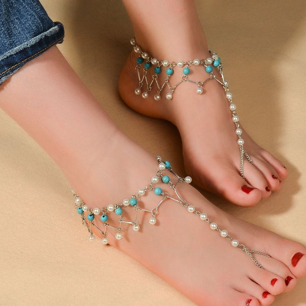 2PC Beach Foot Jewelry Ankle Bracelet Pearl Tassel Barefoot Sandal Anklet Chain