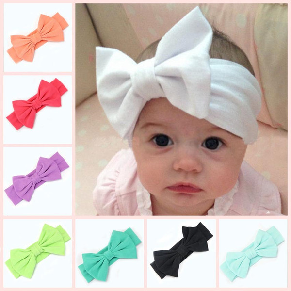 16colors bow New Children Knitting big Bow Tie Bandanas Girl Baby Cotton Headbands Hair Accessories Free Shipping Lovely Bunny Ear