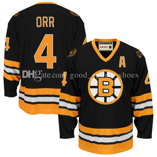CCM 4# Bobby Orr Boston Bruins Heroes of Hockey Jersey - Black 100% stithced jerseys