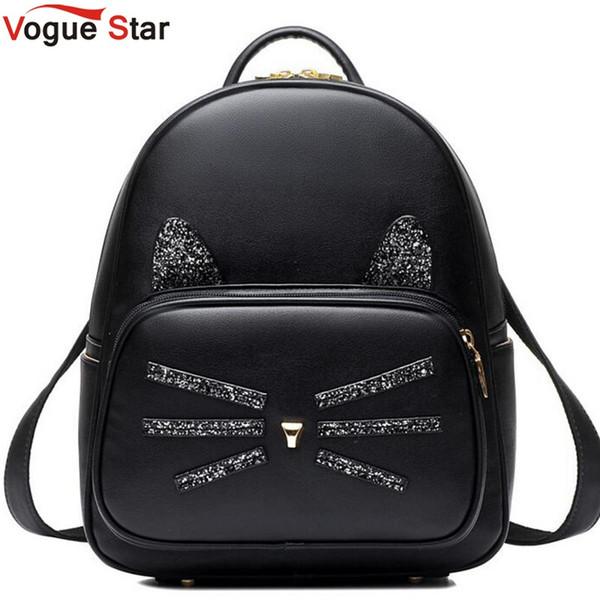 Compre Al Por Mayor Vogue Star Cat Mochila Negro De Muy Buen Gusto Mochilas Escolares De Cuero De La PU Moda Mujeres Bolso De Hombro Travel Back Pack