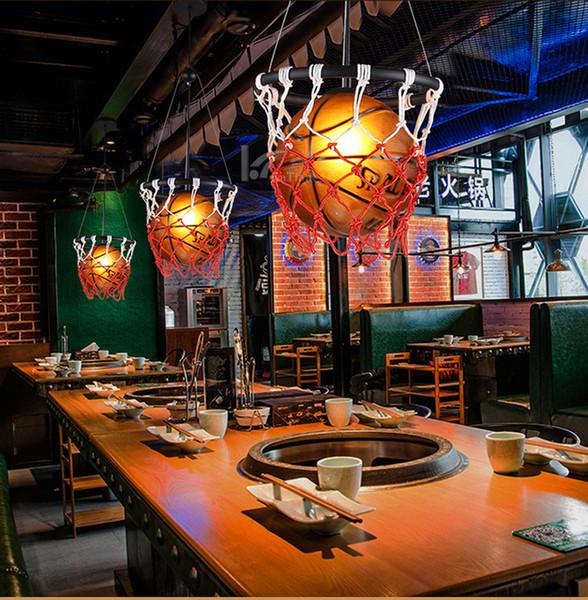Großhandel Kreative Basketball Lampe Persönlichkeit Restaurant Bar  Speichert Stadion Sport Thema Art Deco Pendelleuchte Kinderzimmer  Basketball ...