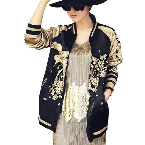 Wholesale- Women Vintage Embroidery Phoenix Bird Flowers Jacket Casual Two Side Wear Baseball Coat Golden Bomber Pilots Outwear YN-4256