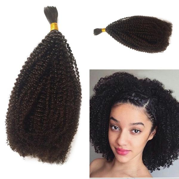 Menschenflechten Haarmasse keine Anlage peruanische Afro verworrene lockige Häkelzöpfe 1 Stück natürliche schwarze Bulk Haare Eatensions G-EASY