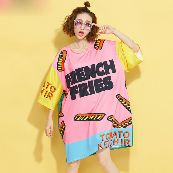 Europeu Plus Size Verão T-Shirt Das Mulheres Padrão Colorido Carta Impressão T-Shirt Feminino Solto Moda Grande Tamanho Do Punk T-Shirt