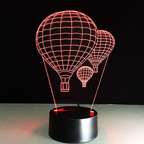 3D Hot air balloon Night Light Table Light 3D Cartoon Lamp Table Lamp 3D LED USB 7 Color Change LED Table Lamp Xmas Toy Gift