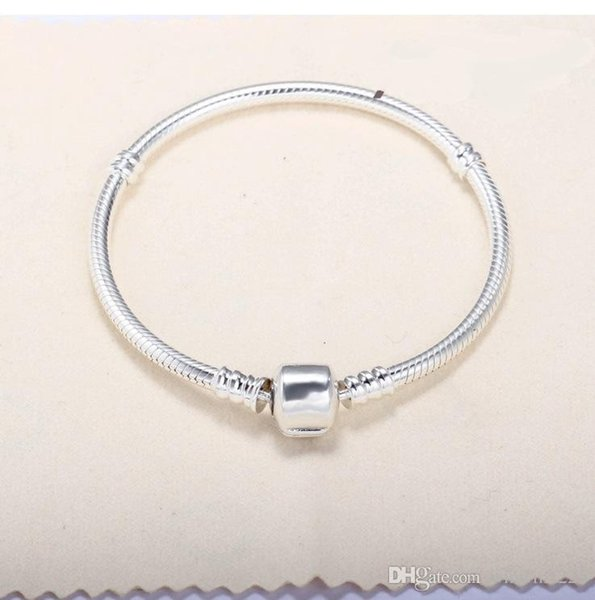 Factory 16cm-23cm Silver Plated Bracelets 3mm Snake Chain Fit Charm Bead Bangle Bracelet Jewelry Gift For Men Women