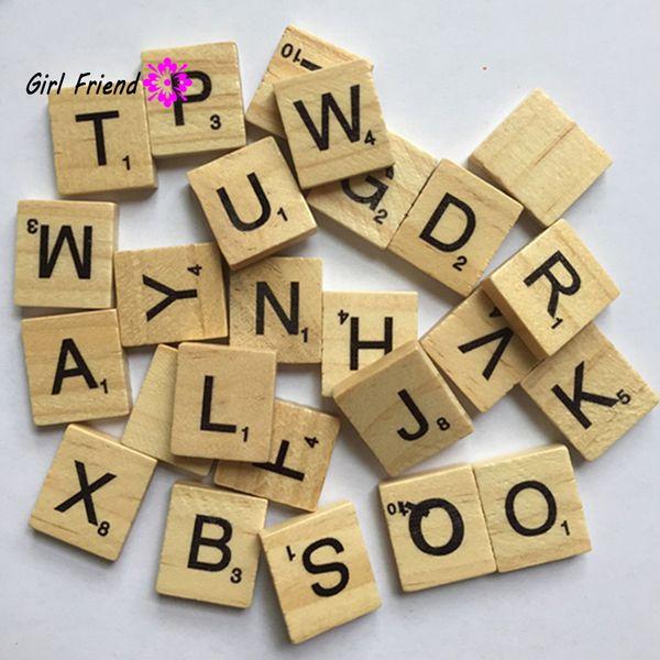 Wholesale- 100pc / pack Puzzle Box in legno alfabeto Scrabble Tiles Lettere Jigsaw puzzle quadrati per artigianato giocattoli in legno per bambini ragazzi ragazze