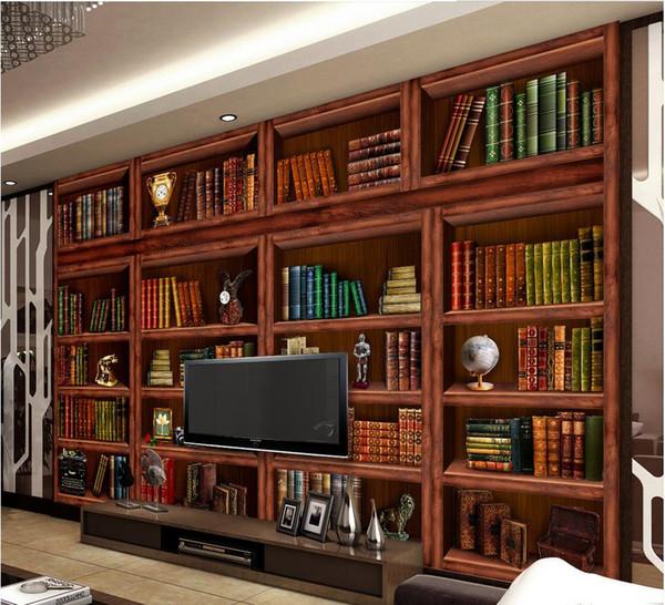 Acquista New Custom 3D Beautiful Soggiorno Libreria Libreria 3D Sfondo  Parete Carta Da Parati Pareti 3 D Soggiorno A $16.39 Dal Wallpaper20151688    ...