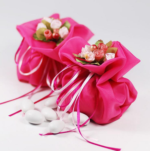 Italian Style Wedding Favor Candy Gift Bags Yarn Pouch With Flower Bouquets For Wedding Favours Table Decoration Supplies