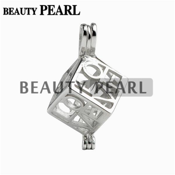 5 Pieces Love Heart Box Locket Cage Pendant Pearl Mountings Wish Pearl 925 Sterling Silver Gift Pendant