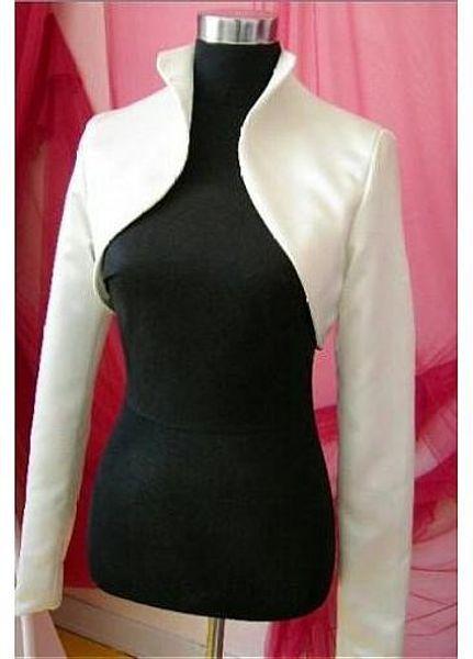 Simple Satin Wedding Jacket Long Sleeve Satin Bolero 2017 Ivory/White Custom Made Women Wedding Accessories Bride Jacket for Winter