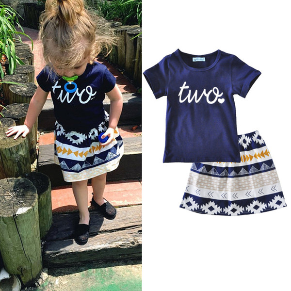INS Baby Clothes Casual Cute Toddler Girls Clothes Set Short Sleeve T-shirt Geometric Pattern Skirt Girls Dresses Kids Children Clothing 037