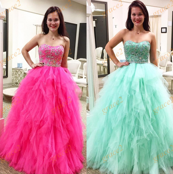 Strapless Neck Quinceanera Dresses 2017 New Style with Tiered Skirt and Appliques Beaded Bodice Real Model Ball Gown Prom Dress Sleeveless