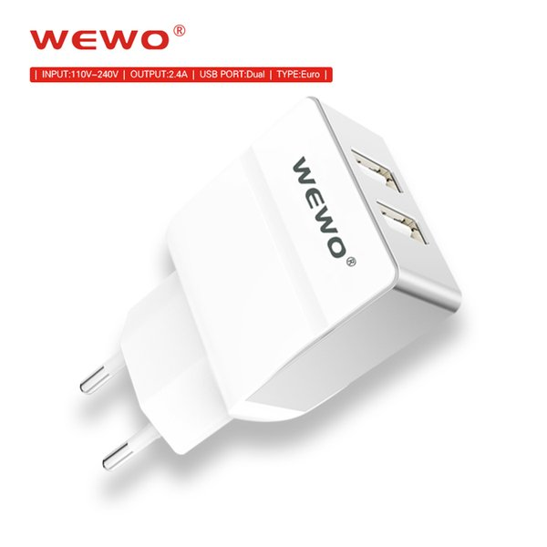 WEWO Dual USB Wall Chargers 2.4A output EU plug Portable Battery Charger iPhone Powerbank Type c Cables Adapter with retail package