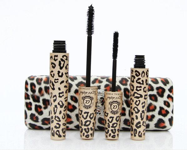 New Love Alpha Mascara Magic Leopard Fiber Mascara Brush Eye Black Makeup Eyelash Grower Eye Black Curling Long Lashes 2pcs/set