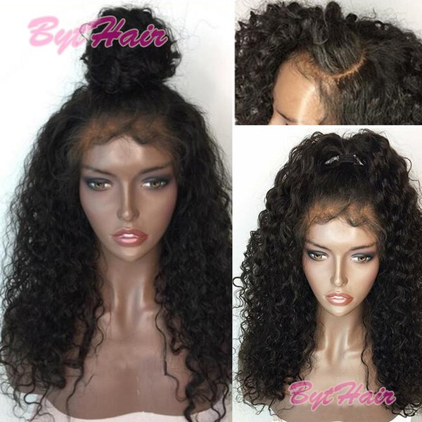 Bythair Brazilian Human Hair Full Lace Wigs Virgin Hair Deep Curly Glueless Full Lace Wigs 150% Density Lace Front Wigs With Baby Hair
