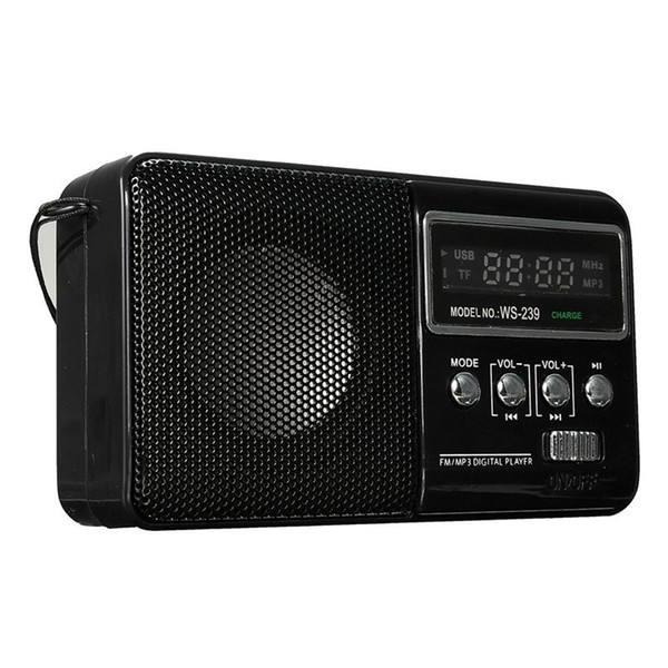 Wholesale-Brand New LCD Mini Portable DC 5V FM Radio Speaker Support TF Card Rechargeable MP3 Music Player Loudspeaker