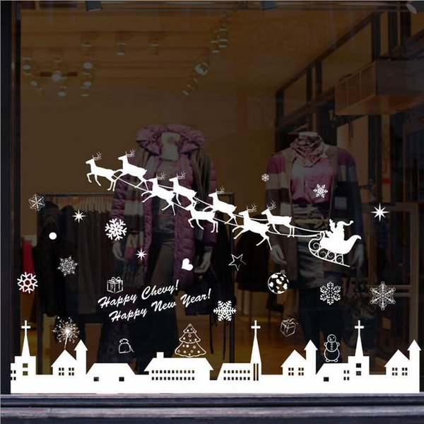 Hot 1 Pc DIY Christmas Snow Town Elk Snowflakes Home Bar Showcase Decor Wall Stickers Window Glass Decorative Wall Decal 2017