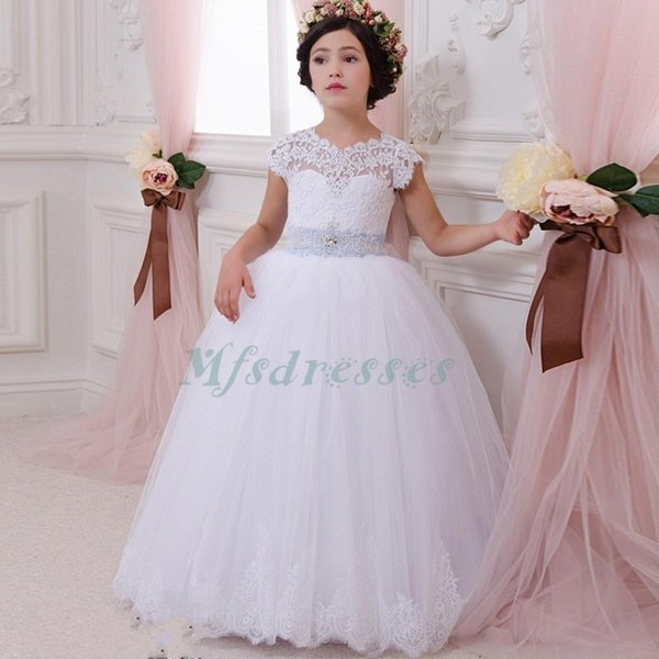 White Kids Evening Prom Gown Lace Appliques With Belt Ball Gown Flower Girl Dress 2017 First Communion Dresses For Girls