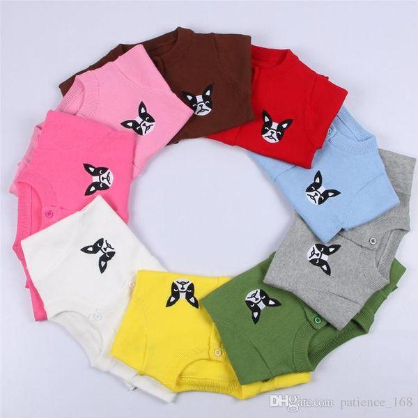11 colores Venta caliente 2017 INS estilo bordado perro Cardigan 100% algodón color sólido primavera otoño algodón cálido suéter de punto envío gratis