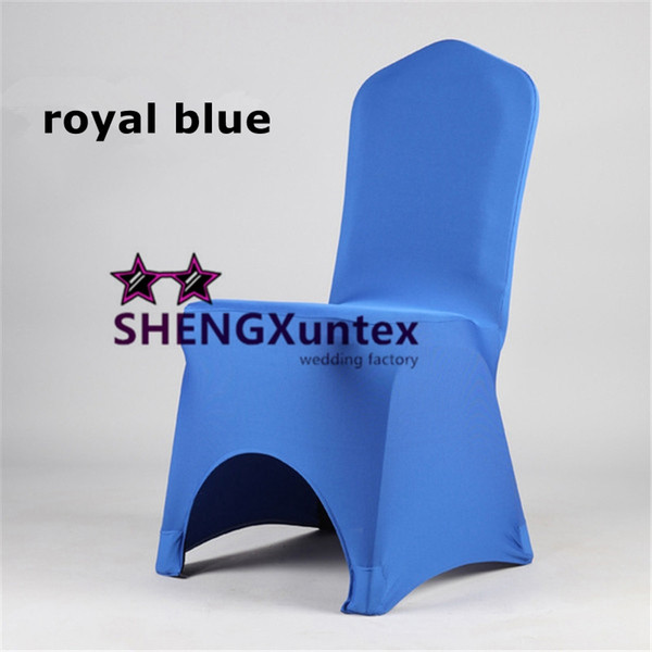 Royal Blue Arch Front Green Color Lycra Spandex Chair Cover Wholesale Price