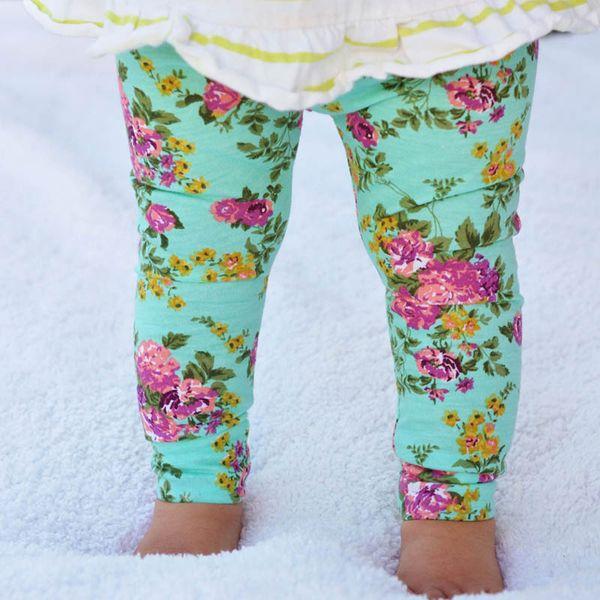 Christmas Newest Style Spring Autumn Children Leggings Fashion Girls Leggings Children Pants Print Flower Kids Girls Pants 3 colors