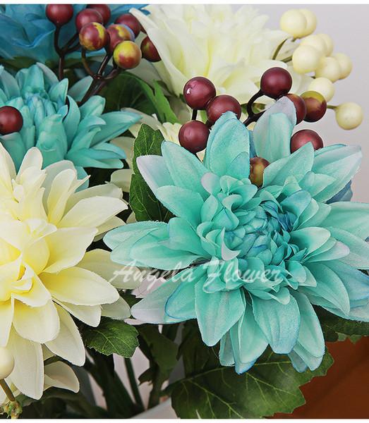 Wholesale-Bright mix 6 heads/bouquet Large chrysanthemum wedding home decorative flower DIY bride hand flower silk dahlia