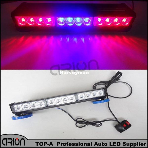 Auto 72W 24 LED emergenza veicolo Flash Light Long Bar cruscotto Strobe Warning Blue Police Red Police Lamp