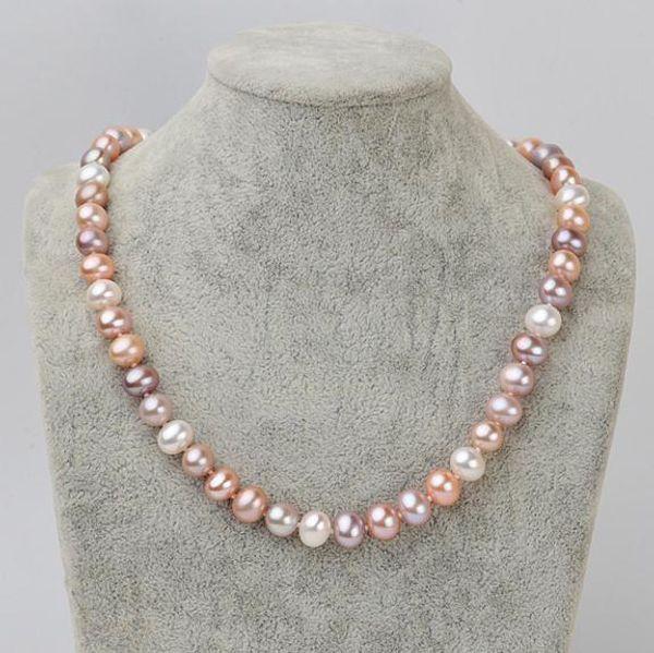 8-9mm Südsee Weiß Rosa Lila Mischfarbe Natürliche Perlenkette 18 Zoll 925 Silber XL123-489