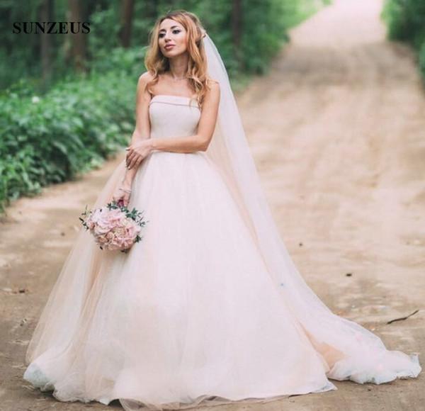 Großhandel Einfaches Elegantes Ballkleid Hochzeits Kleid Trägerloses ...
