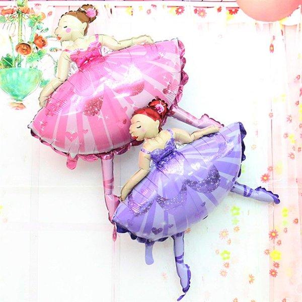 10pcs/lot 110*85cm Large Size Ballet Dancing Girl Foil Balloons Wedding Decoration Birthday Party Decoration Baby Girl Jumbo balloon