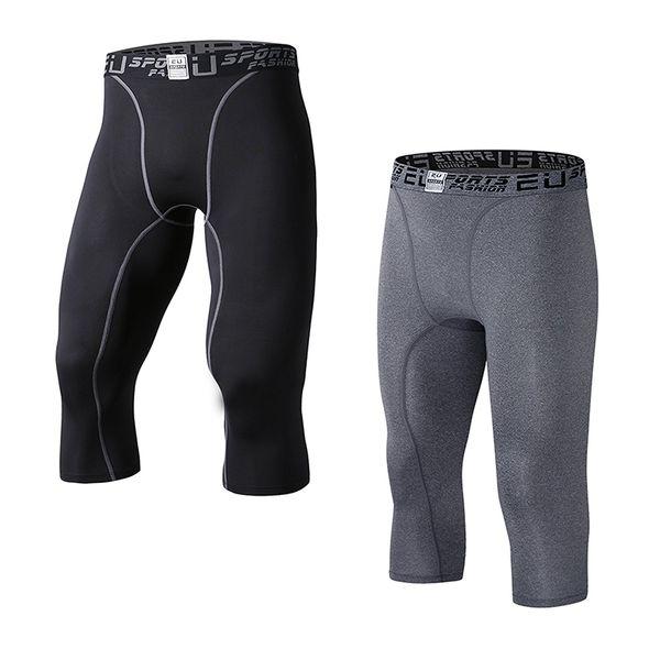 top popular EU Men's Compression Capri Base Layer Tights 3 4 Pants capri pants 2019
