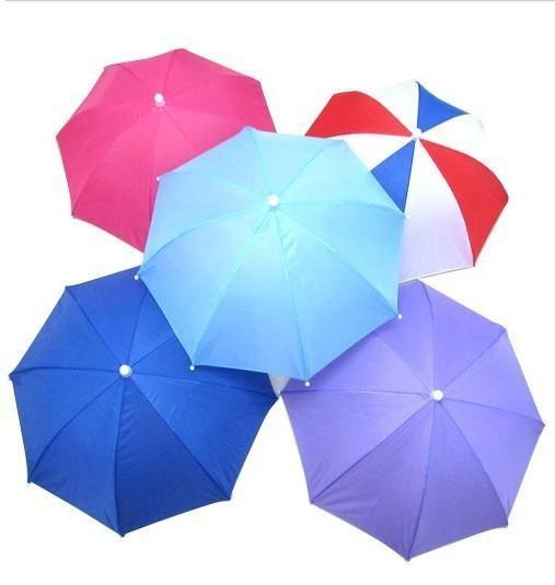 Hair Umbrellas Elastic Band Fishing Bumbershoot Hat Weather Umbrellas Straight Pole Umbrella Handle And Originality Colorful 4yz H1 R