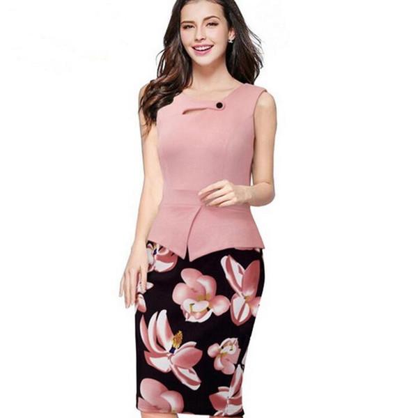 Arrivée Printemps Été Euro US Fashion Vestidos Imprimer Floral Patchwork Travail Décontracté Sans Manches Bodycon bureau Tunique Robe
