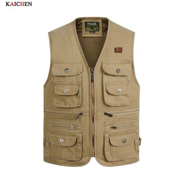 Wholesale- New Summer Men's Photographer Vest Multi-Pockets Cheap Vests Shooting Waistcoat Vest Walking Travel Vest XL-4XL