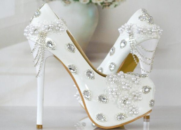 100% Handmade Wedding Shoes Women's High Heels shoes bride diamond shoes Pumps beautiful princess wedding party Shoe White