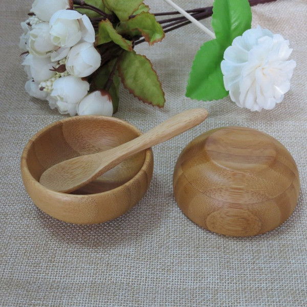 Free shipping 50g Bamboo mask small bowl beautiful child bamboo bowl mask bowl with free spoon