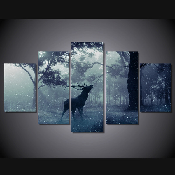 Framed HD Printed Snow animal deer 5 Panel Forest Painting Printed on High Quality Canvas,Home Wall Decor size can be customized