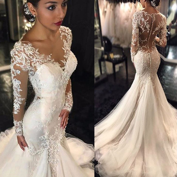 best selling Trumpet Mermaid V-neck Long Sleeves Lace Court Train Tulle Applique Lace Wedding Dresses Illusion Back Back Bridal Dress with Pick Up Skirt