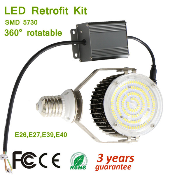 Universal Adjustable 100W 150W 180W Light Fins Aluminum Heat Dispersion LED Retrofit Kits Super Bulb for Outdoor Old Light Fixture