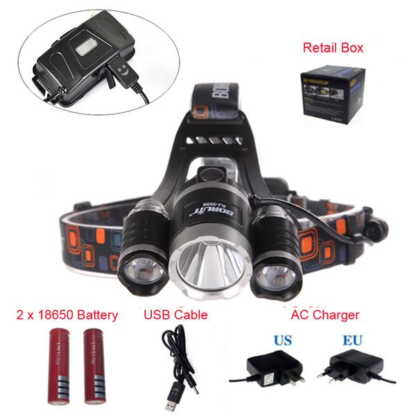 Boruit RJ-5000 8000LM 3*LED T6+2R5 Headlight Headlamp USB Power bank Rechargeable Torch Flashlight Lamp+18650 Battery+Charge
