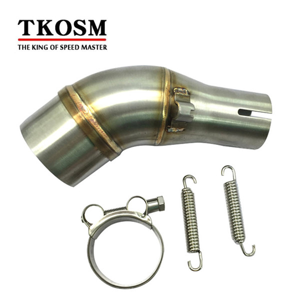 TKOSM Motorcycle Exhaust Middle Pipe Stainless Steel Muffler Link Pipe Middle Section Connect Adapter Motorbike for Kawasaki R25
